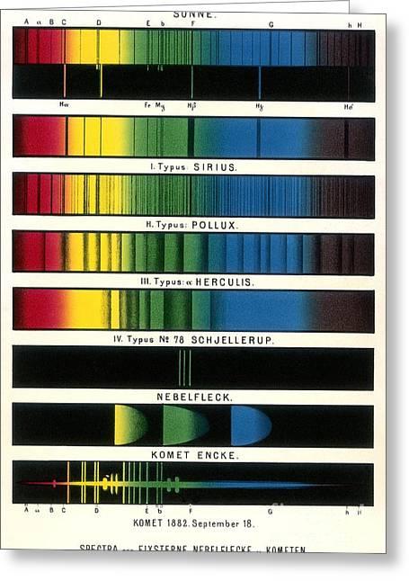 Label Greeting Cards - Space Spectra, Historical Diagram Greeting Card by Detlev van Ravenswaay