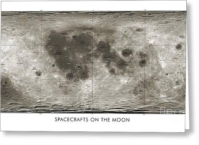 3.14 Greeting Cards - Spacecraft On The Moon, Lunar Map Greeting Card by Detlev van Ravenswaay