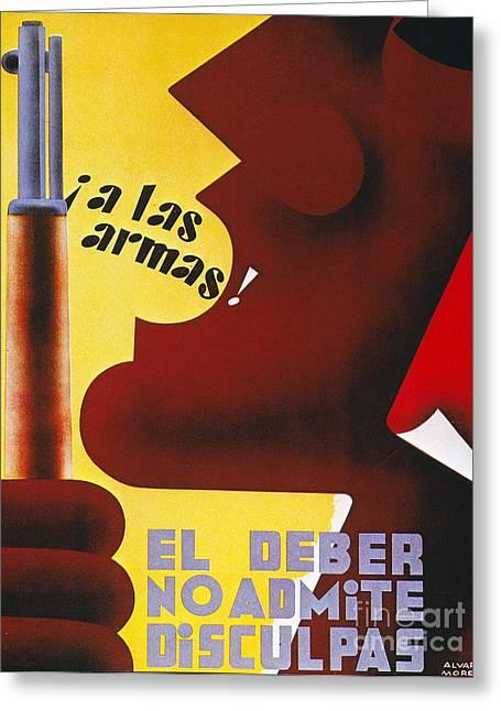 Anti Greeting Cards - Spanish Civil War, 1937 Greeting Card by Granger