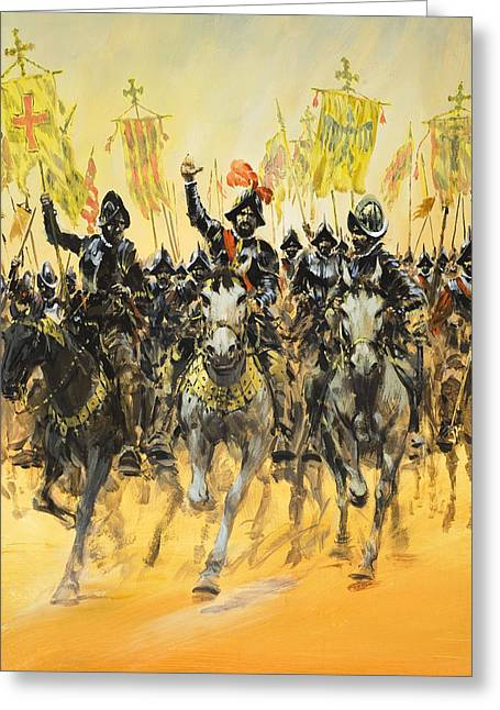 Knighted Drawings Greeting Cards - Spanish Conquistadors Greeting Card by Graham Coton