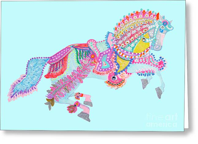 Puppy Digital Art Greeting Cards - Spanish horse by Keira Lagunas Greeting Card by Keira  Lagunas