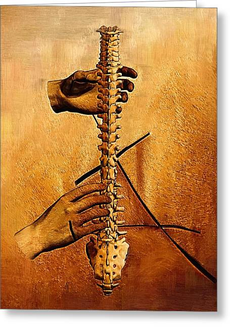 Physical Body Digital Greeting Cards - Spine - Instrument of Life Greeting Card by Joseph Ventura