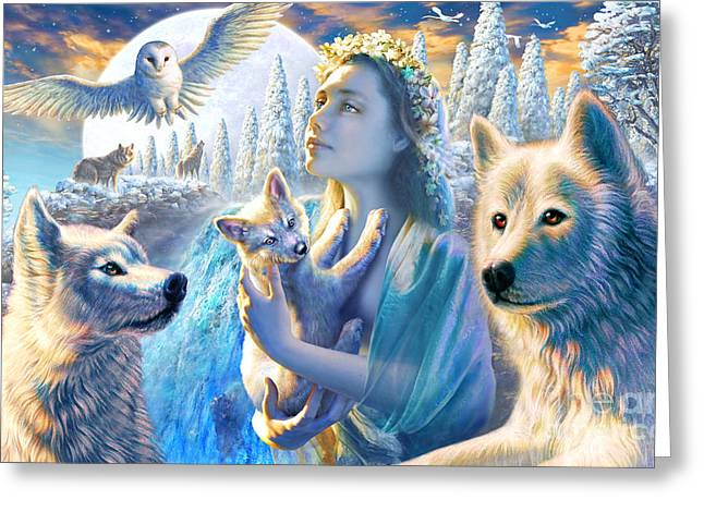 Wolves Digital Greeting Cards - Spirit of the Mountain Greeting Card by Adrian Chesterman