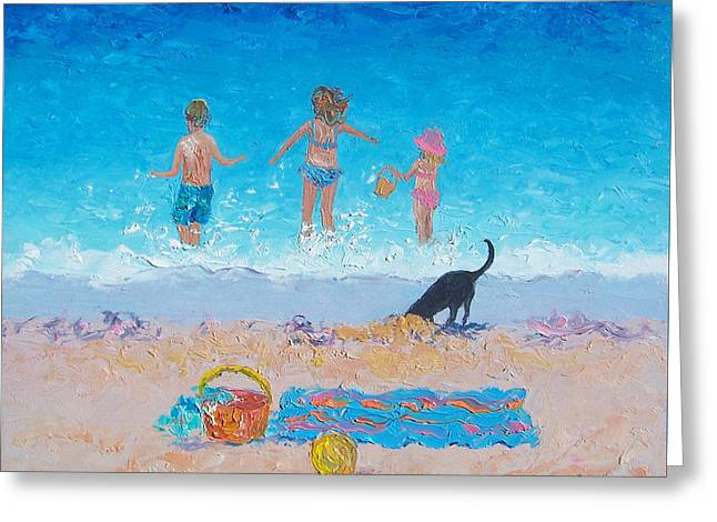 Dog Beach Print Greeting Cards - Splash Greeting Card by Jan Matson