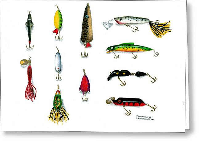 Fishing Enthusiast Greeting Cards - Sport Fishing Spinners Spoons and Plugs Greeting Card by Sharon Blanchard