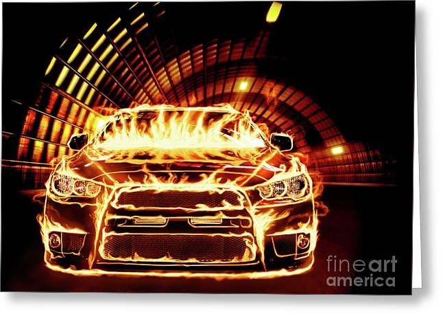 Powerful Car Greeting Cards - Sports Car in Flames Greeting Card by Oleksiy Maksymenko