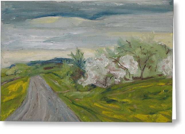 Gravel Road Paintings Greeting Cards - Spring Country Road Greeting Card by Francois Fournier