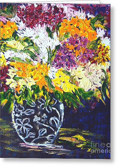 Vase Greeting Cards - Spring Flowers Greeting Card by Lynda Cookson