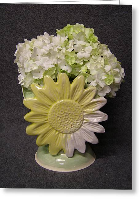 Hand Thrown Pottery Greeting Cards - Spring Flowers Greeting Card by Sandi Floyd