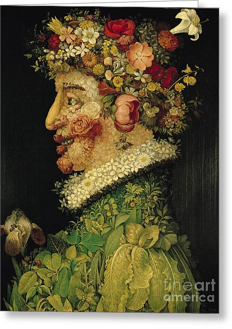 Leaves Paintings Greeting Cards - Spring Greeting Card by Giuseppe Arcimboldo