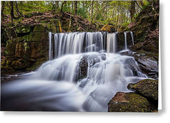 Spring Waterfall In A Remote Peaceful Forest. Greeting Card by Daniel Kay