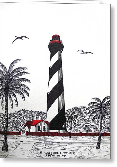 Historic Buildings Images Drawings Greeting Cards - St Augustine Lighthouse Christmas Card Greeting Card by Frederic Kohli