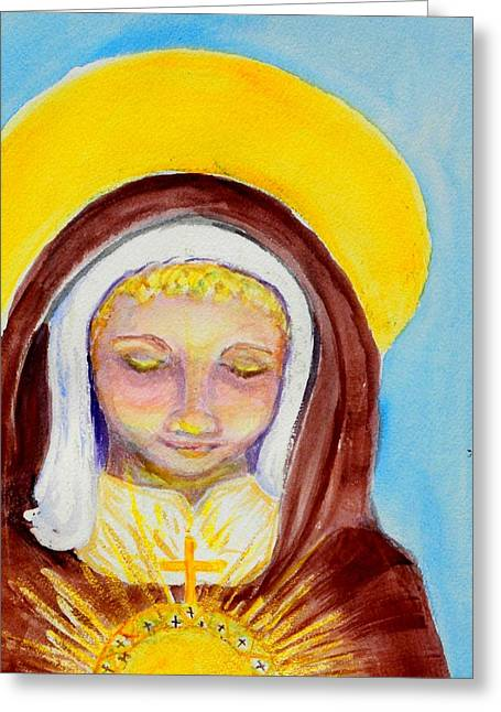 St. Clare Greeting Cards - St. Clare of Assisi Greeting Card by Susan  Clark