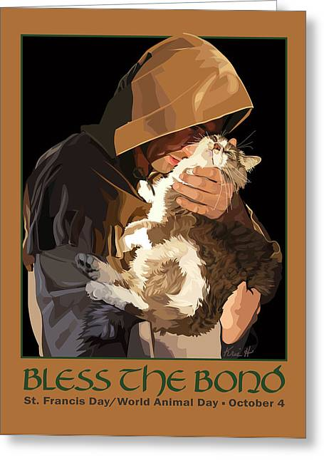 Animal Greeting Cards - St. Francis with Cat Greeting Card by Kris Hackleman