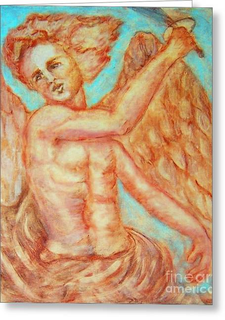 Catholic Drawings Greeting Cards - St. Michael The Archangel Greeting Card by Suzanne Reynolds