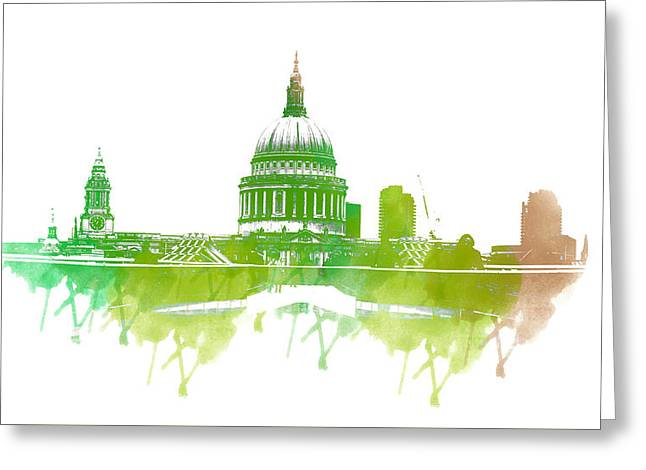 Color Splash Greeting Cards - St Pauls Cathedral Greeting Card by Martin Newman