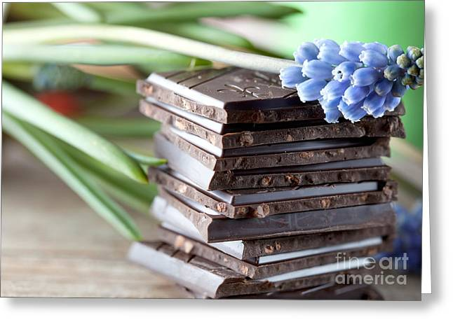 Fat Greeting Cards - Stack of Chocolate Greeting Card by Nailia Schwarz