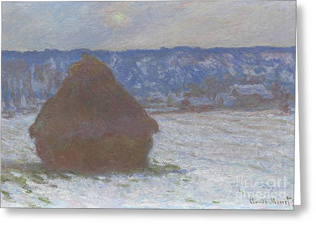 Stack Of Wheat Snow Effect, Overcast Day Greeting Card by Claude Monet