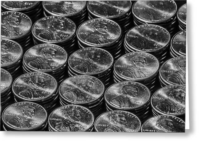 Coins Greeting Cards - Stacks of Pennies Greeting Card by Robert Hurst