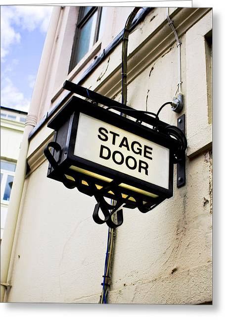 Stage Door Sign Greeting Card by Tom Gowanlock