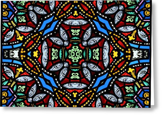 Religious Greeting Cards - Stained Glass Panel Greeting Card by Paul Cummings