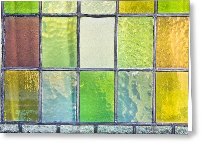Irregular Greeting Cards - Stained glass Greeting Card by Tom Gowanlock