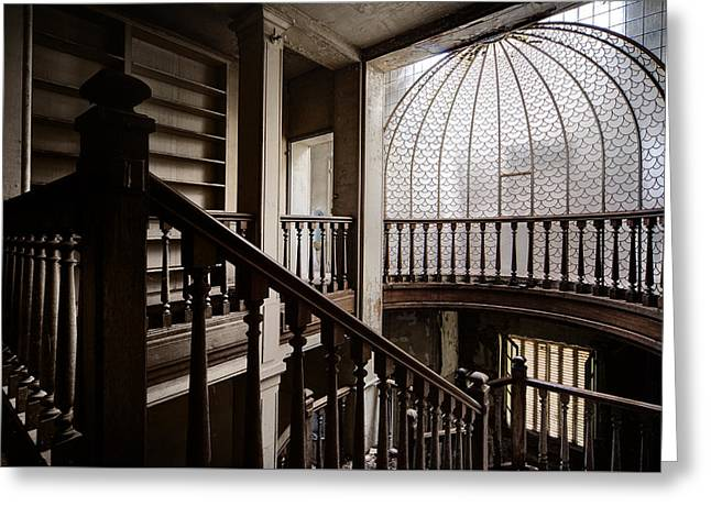 Stair Case Greeting Cards - Stairway of abandoned castle - abandoned building Greeting Card by Dirk Ercken