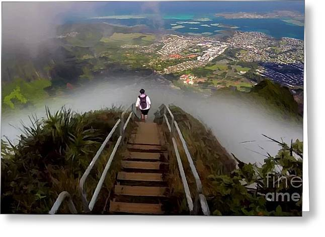 Stairway To Heaven Hawaii 3 Greeting Card by Carl Gouveia