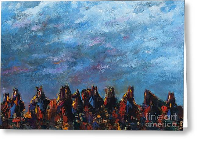 Horse Herd Greeting Cards - Stampede Greeting Card by Frances Marino