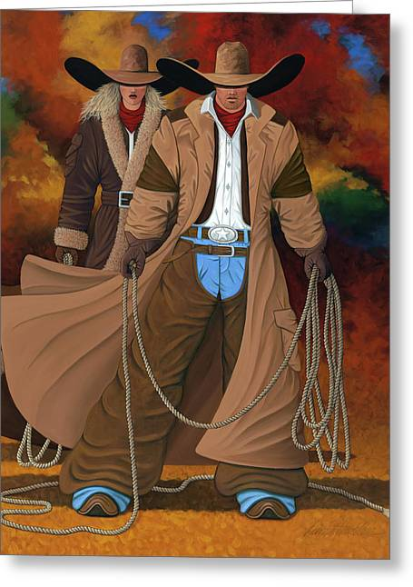Bull Rider Greeting Cards - Stand By Your Man Greeting Card by Lance Headlee
