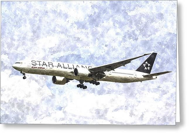Jet Star Digital Art Greeting Cards - Star Alliance Boeing 777 Art Greeting Card by David Pyatt