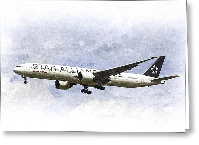 Jet Star Digital Art Greeting Cards - Star Alliance Boeing 777 Greeting Card by David Pyatt