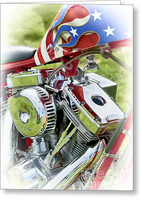 Abstract Digital Digital Greeting Cards - Stars and Stripes Harley Greeting Card by Tim Gainey