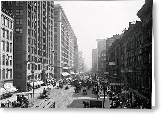 State Street Chicago 1900 Greeting Card by Daniel Hagerman
