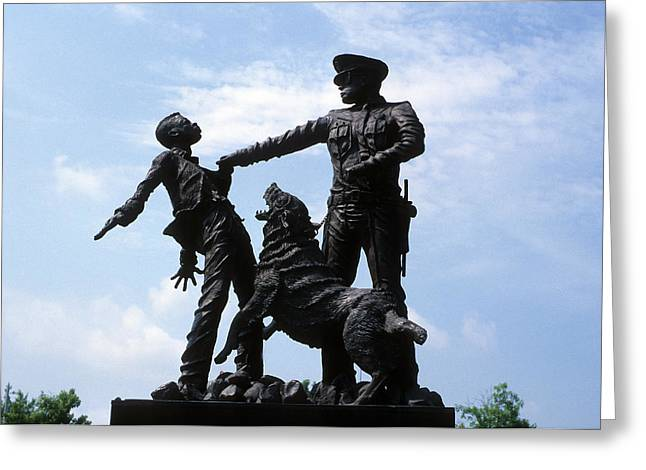 Civil Rights Greeting Cards - Statue of Sheriff Bull Conner with Attack Dog Greeting Card by Carl Purcell