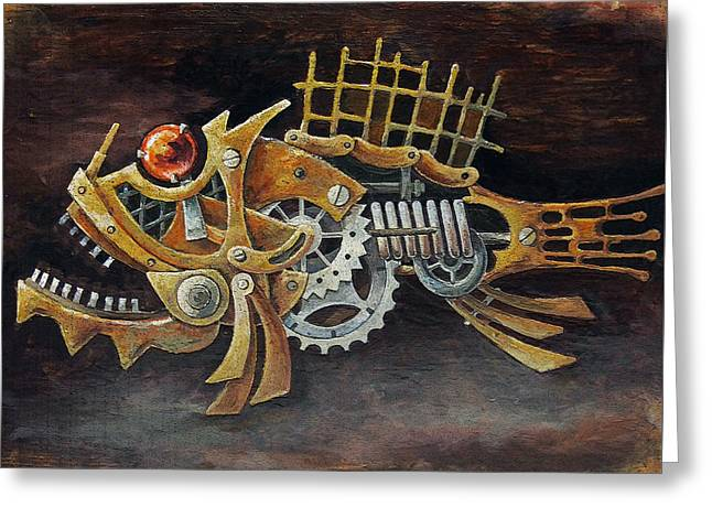 Decorative Fish Greeting Cards - Steampunk Fish D Greeting Card by Irina Pankevich