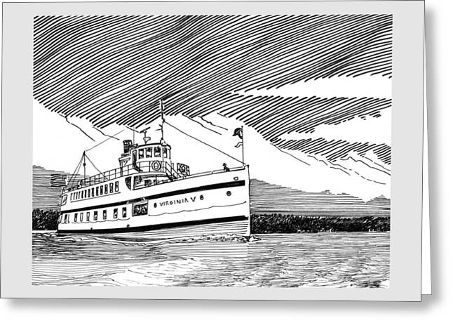 In-city Drawings Greeting Cards - Steamship Virginia V Greeting Card by Jack Pumphrey