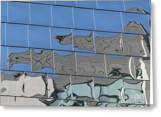 Stainless Steel Greeting Cards - Steel cladding reflections Greeting Card by Photimageon UK