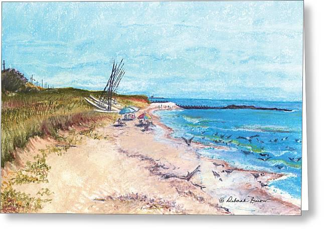 On The Beach Greeting Cards - Steep Beach Greeting Card by Deborah Burow