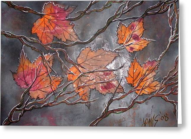 Mix Medium Paintings Greeting Cards - Stephanies Autumn Greeting Card by LinMarie Surface