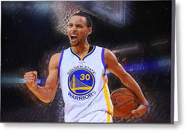 Lebron Digital Greeting Cards - Stephen Curry Greeting Card by Semih Yurdabak