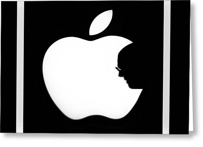 Popular Fruit Greeting Cards - Steve Jobs Apple Greeting Card by Rob Hans