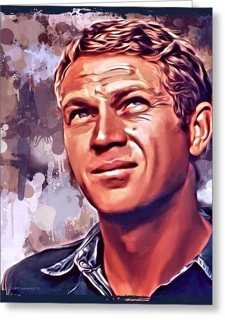 Anti Greeting Cards - Steve McQueen Portrait 2 Greeting Card by Scott Wallace