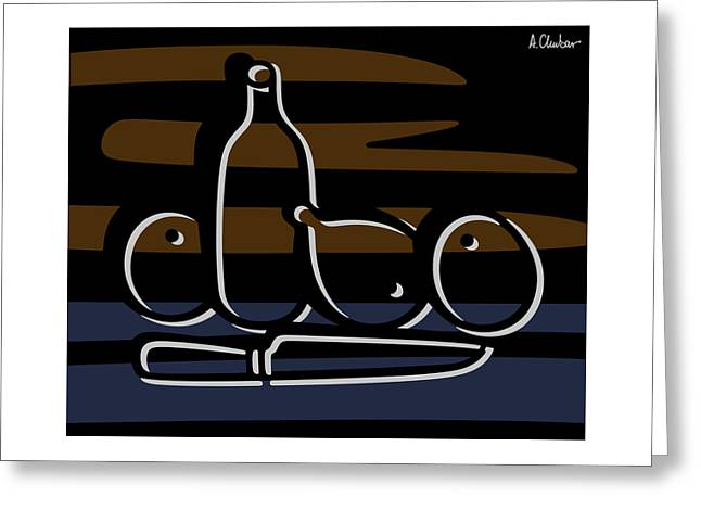 Still Life With A Knife Greeting Card by Aex Chubar