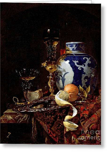 Best Sellers -  - Glass Vase Greeting Cards - Still Life with a Chinese Porcelain Jar Greeting Card by Willem Kalf
