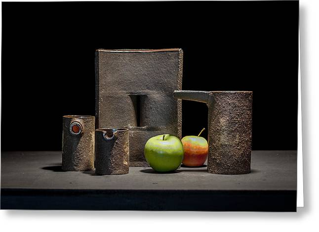 Still Life Ceramics Greeting Cards - Still Life with Apples Greeting Card by William Sulit