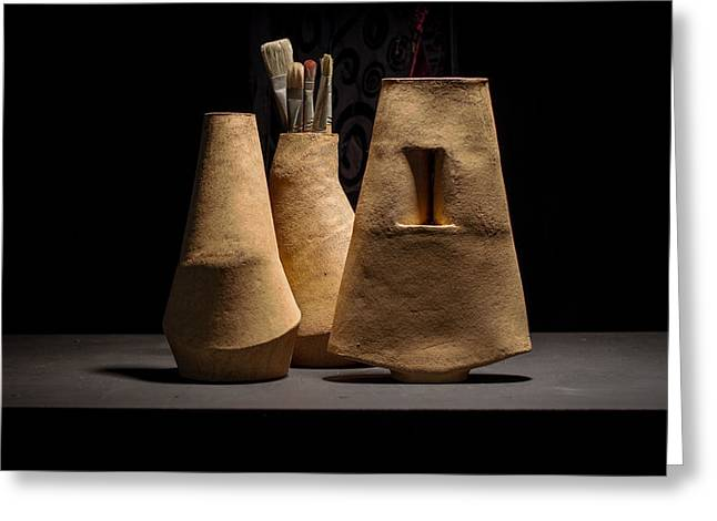 Sculpture. Ceramics Greeting Cards - Still Life with Brushes Greeting Card by William Sulit