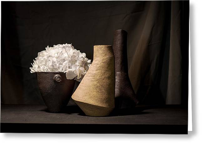 Still Life Ceramics Greeting Cards - Still Life with Flower Greeting Card by William Sulit