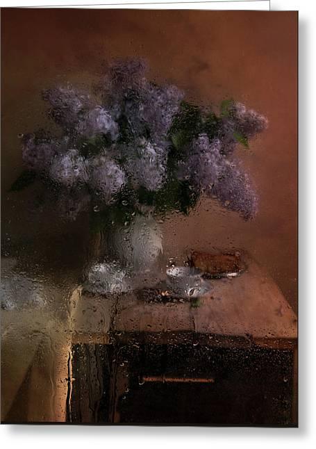 Still Life With Fresh Lilacs Greeting Card by Jaroslaw Blaminsky