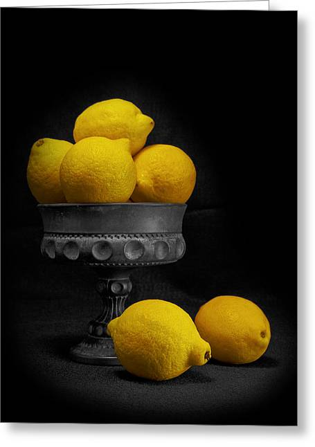 Compote Greeting Cards - Still Life with Lemons Greeting Card by Tom Mc Nemar